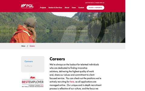 Screenshot of Jobs Page pggroup.com - Careers - PGL Environmental Consultants - captured Jan. 24, 2016