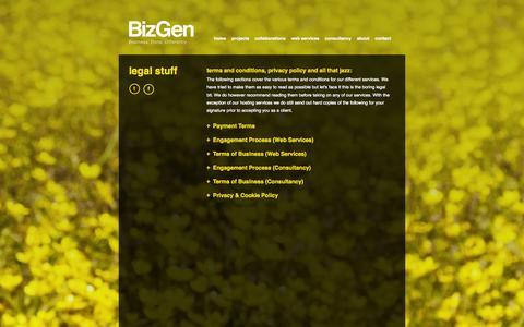 Screenshot of Terms Page bizgen.co.uk - BizGen | Business. Done. Differently. | Business Development Specialists - captured Oct. 5, 2014