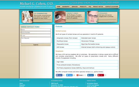 Screenshot of Products Page michaelcohenod.com - Michael G. Cohen, O.D. | Eyeglasses, Contact Lenses - captured April 13, 2017