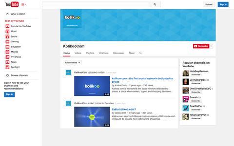 Screenshot of YouTube Page youtube.com - KolikooCom  - YouTube - captured Oct. 22, 2014
