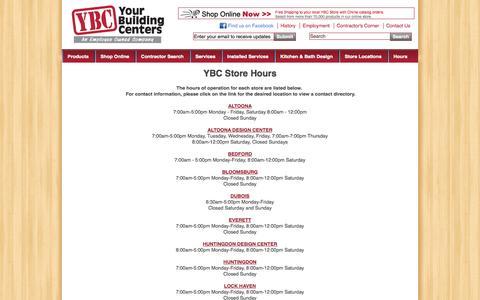 Screenshot of Hours Page ybconline.com - YBC Store Hours   ybconline.com - captured Oct. 27, 2014