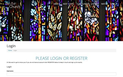 Screenshot of Login Page belairpres.org - Login | Bel Air Church - captured June 22, 2016