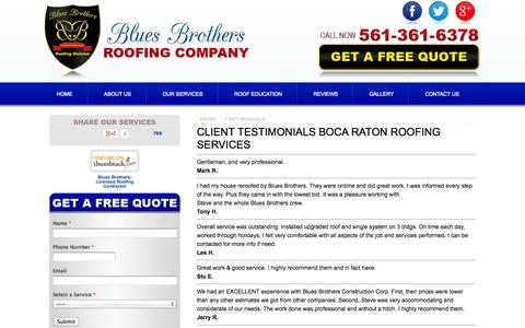 Screenshot of Testimonials Page bluesbrothersroofing.com - Testimonials - Boca Raton Roofing Contractor - Client Reviews | Blues Brothers Roofing Company - captured Oct. 5, 2014