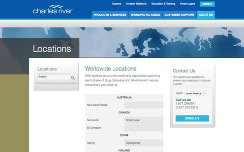 Screenshot of Locations Page criver.com - Charles River Locations Worldwide - captured Sept. 13, 2014