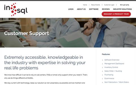 Screenshot of Support Page inxsql.com - INxSQL | Integrated Inventory Solutions - captured Oct. 15, 2017