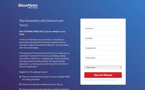 Screenshot of Landing Page blazemeter.com - Webcast - Test Automation with Selenium and Taurus - captured Sept. 19, 2018