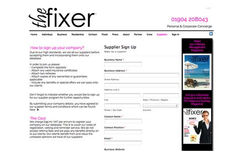 Screenshot of Signup Page the-fixer.co.uk - Concierge Company | Lifestyle Management & Concierge Services | The Fixer Concierge - make me a supplier - captured Oct. 26, 2014