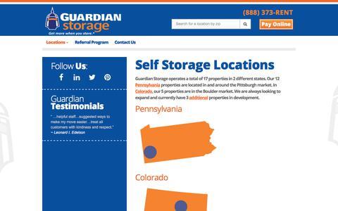 Screenshot of Locations Page guardianstorage.com - Locations   Guardian Storage   Pittsburgh & Colorado - captured Sept. 24, 2017