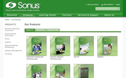 "Screenshot of Products Page sonus.net - Sonus Products and Solutions | Sonusâ""¢ - captured July 3, 2016"