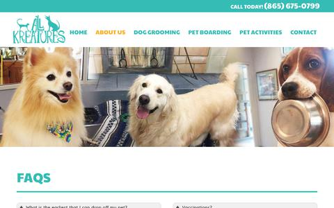 Screenshot of FAQ Page allkreatures.com - All Kreatures Pet Care   Frequently Asked Questions   Pet Care Knoxville TN - captured July 29, 2018
