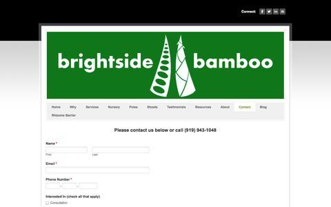 Screenshot of Contact Page brightsidebamboo.com - Contact - Brightside Bamboo - Bamboo nursery, landscaping, farming, and poles - captured Sept. 30, 2014