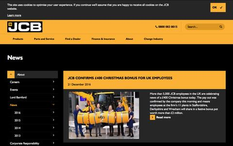 Screenshot of Press Page jcb.com - News - captured Dec. 29, 2016