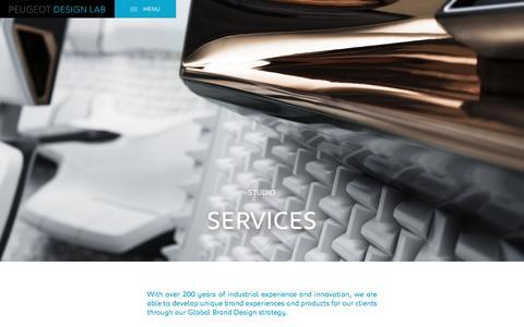Screenshot of Services Page peugeotdesignlab.com - Global brand design, identity & strategy   Design studio - captured May 17, 2017