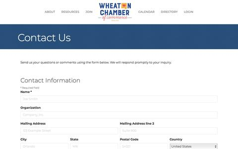 Screenshot of Contact Page wheatonchamber.com - Contact Us - captured Oct. 12, 2019