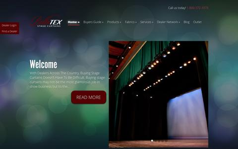 Screenshot of Home Page bellatex.com - BellaTEX - Stage Curtains and Theatrical Drapes - captured Oct. 5, 2014