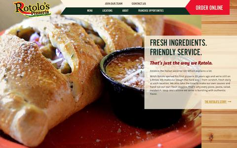 Screenshot of Home Page rotolos.com - Rotolo's Pizzeria | Fresh Pizza, Pasta, Wings, Sandwiches, Salads - captured Feb. 15, 2016