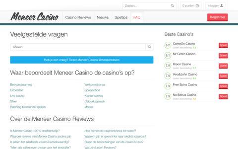 Screenshot of FAQ Page meneercasino.com - Veel gestelde vragen - captured Oct. 27, 2014