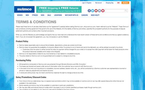 Screenshot of Terms Page swimco.com - Terms & Conditions | Swimco - captured Sept. 19, 2014
