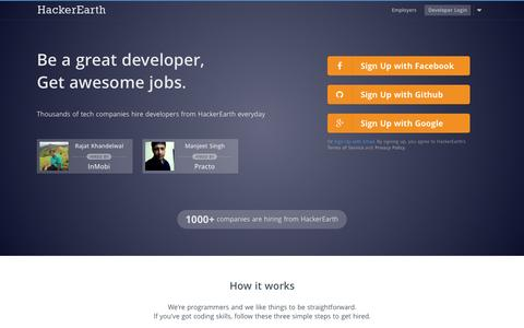 Screenshot of Home Page hackerearth.com - HackerEarth - Programming challenges and Developer jobs - captured June 16, 2015