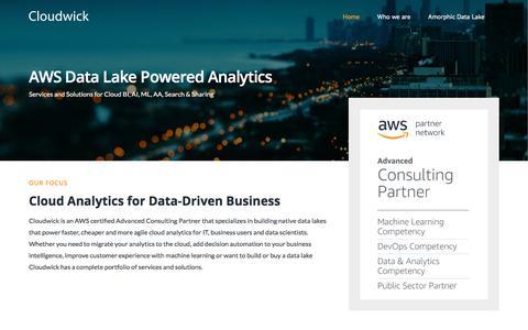 Screenshot of Home Page cloudwick.com - Cloudwick: The Cloud, Data Lake and Analytics Company - captured July 18, 2019
