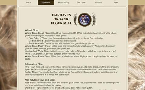 Screenshot of Products Page fairhavenflour.com - fairhaven-flour-mill | Products - captured Jan. 3, 2017