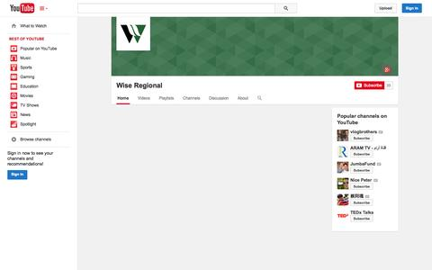 Screenshot of YouTube Page youtube.com - Wise Regional  - YouTube - captured Oct. 26, 2014