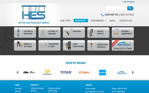 Screenshot of Products Page hesvic.com.au - Product Range - captured Sept. 29, 2018