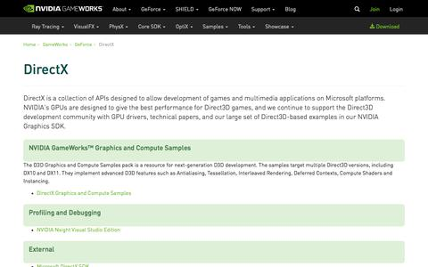 Screenshot of Developers Page nvidia.com - DirectX   NVIDIA Developer - captured Aug. 23, 2018