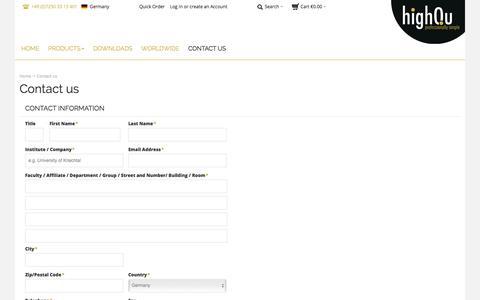 Screenshot of Contact Page highqu.com - highQu GmbH |  Contact us - captured Sept. 20, 2017