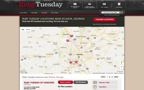 Screenshot of Locations Page rubytuesday.com - Locations - captured Aug. 17, 2016