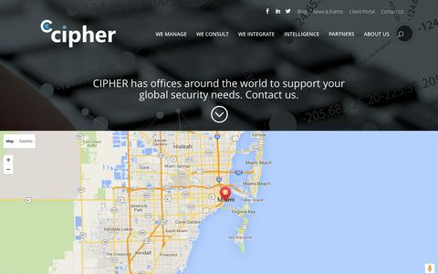 Screenshot of Contact Page cipher.com - Contact Us. Get in Touch with Us - CIPHER - captured July 9, 2016