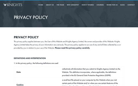 Screenshot of Privacy Page knights-agency.com - Privacy Policy - Knight Agency - captured Sept. 20, 2018
