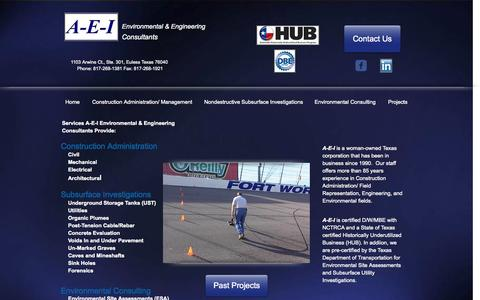 Screenshot of Home Page a-e-i.net - Environmental & Engineering Consultants - captured Oct. 3, 2014