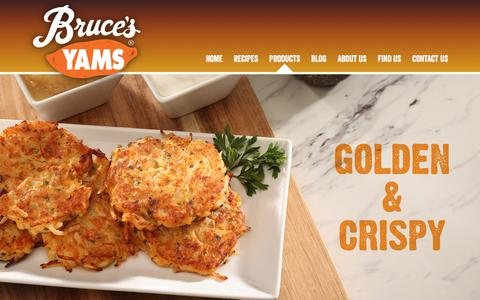Screenshot of Products Page brucesyams.com - Our Yams | Bruce's Yam's - captured July 11, 2018