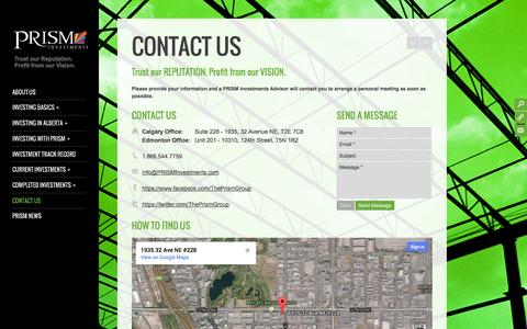 Screenshot of Contact Page prisminvestments.com - PRISM Investments Contact Us » PRISM Investments - captured Sept. 26, 2014
