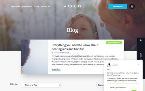 Screenshot of Blog audicus.com - About Hearing Aids and Hearing Loss Page 1 | Audicus Blog - captured Feb. 17, 2019