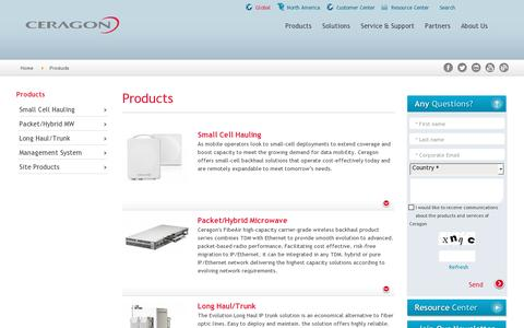 Screenshot of Products Page ceragon.com - Products - captured July 18, 2014
