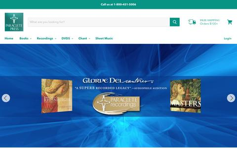 Screenshot of Home Page paracletepress.com - Paraclete Press | Christian Books, Music, and DVDs - captured Nov. 4, 2018