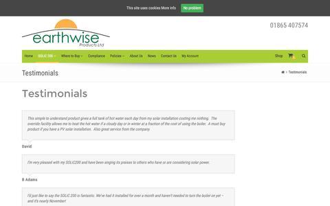 Screenshot of Testimonials Page earthwiseproducts.co.uk - Testimonials – Earthwise Products - captured Oct. 19, 2016