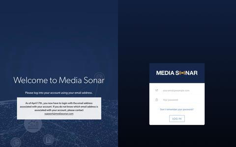 Screenshot of Login Page mediasonar.com - Sign In to Media Sonar - captured July 18, 2019