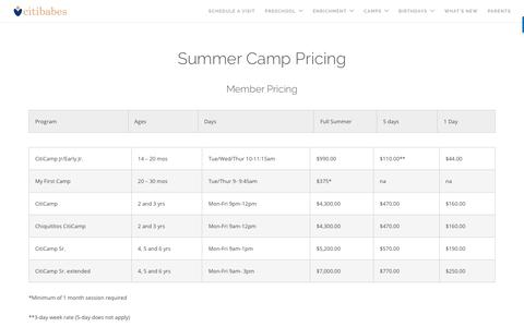 Screenshot of Pricing Page citibabes.com - Summer Camp Pricing | Citibabes - captured July 5, 2017