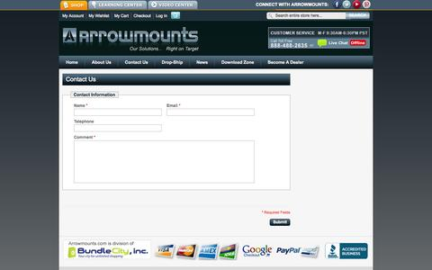 Screenshot of Contact Page arrowmounts.com - Magento Commerce - captured Sept. 30, 2014