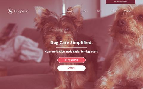 Screenshot of Home Page dogsync.com - DogSync: Dog Care Simplified - captured March 21, 2016