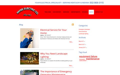 Screenshot of Blog payneelectricco.com - Electrical Contractor Blog | Payne Electric Co. | Louisville - captured July 18, 2017