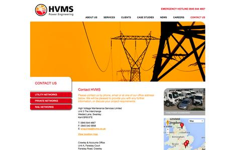 Screenshot of Contact Page hvms.co.uk - HVMS - Power Engineering | High Voltage Maintenance Services | HVMS - Contact Us - captured Sept. 27, 2014