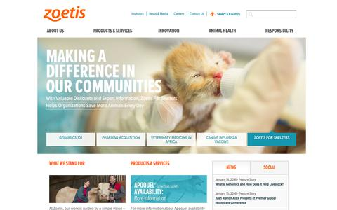 Screenshot of Home Page zoetis.com - Zoetis, the largest global animal health company - captured Feb. 4, 2016