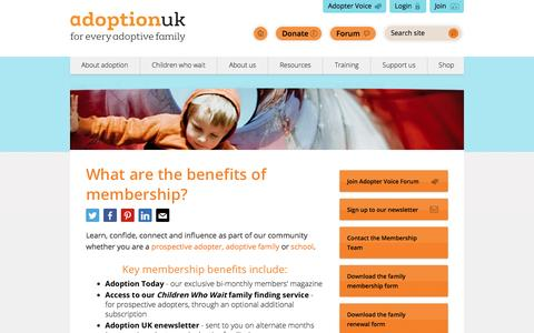 Screenshot of Signup Page adoptionuk.org - What are the benefits of membership? | Adoption UK - captured July 24, 2016