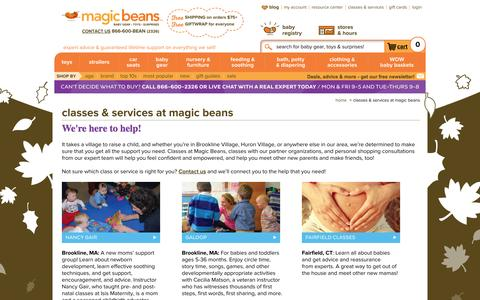 Screenshot of Services Page mbeans.com - Classes & Services at Magic Beans - captured Oct. 31, 2014
