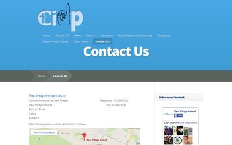 Screenshot of Contact Page cidp.ie - Contact Us | Catholic Institute for Deaf People - captured Oct. 26, 2014