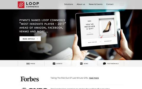Screenshot of Press Page loopcommerce.com - Loop Commerce - News & Events - captured Aug. 25, 2017